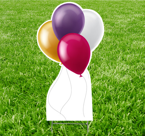 Coroplast outdoor yard sign icon of balloons.