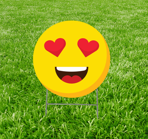 Coroplast outdoor yard sign icon of an emoji with heart eyes.