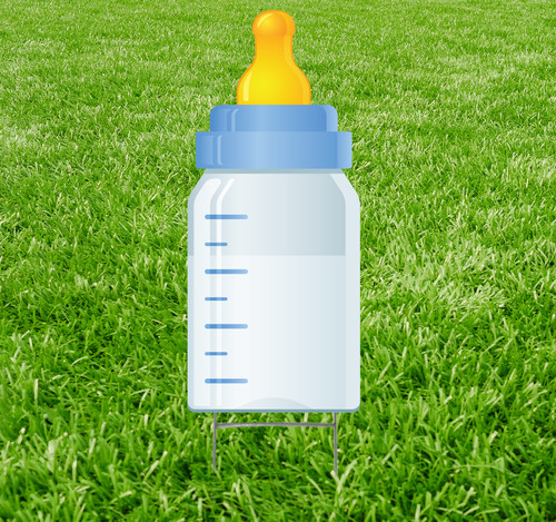 Coroplast outdoor yard sign icon of a blue baby bottle.