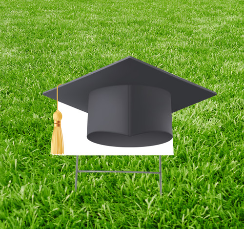 Coroplast outdoor yard sign icon of a black grad cap.