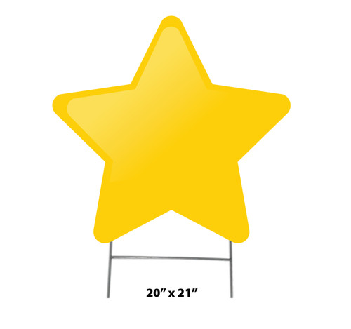 Coroplast outdoor yard sign icon of a yellow star with dimensions.