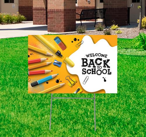 Coroplast outdoor welcome back to school yard sign.