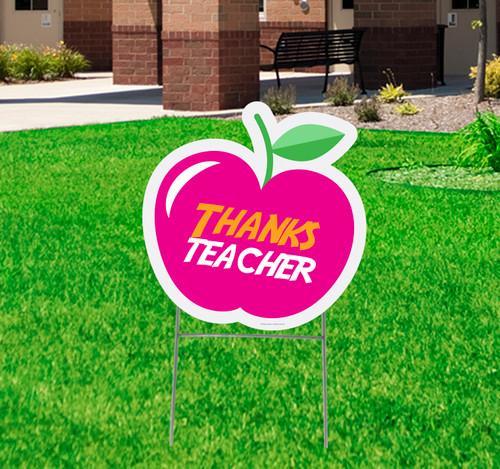 Coroplast outdoor thanks teacher apple yard sign.