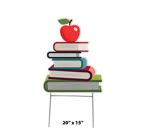 Coroplast outdoor school books with apple on top yard sign with dimensions.