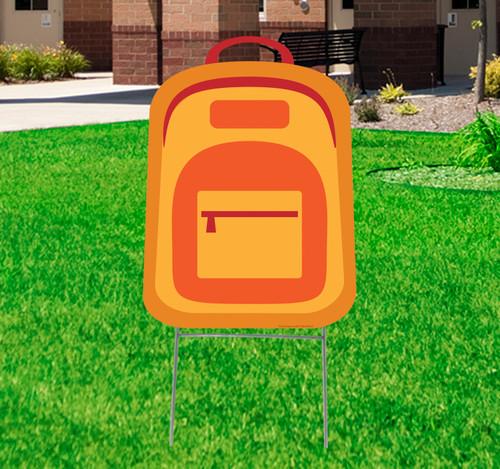 Coroplast outdoor School Back Pack Yard Sign.