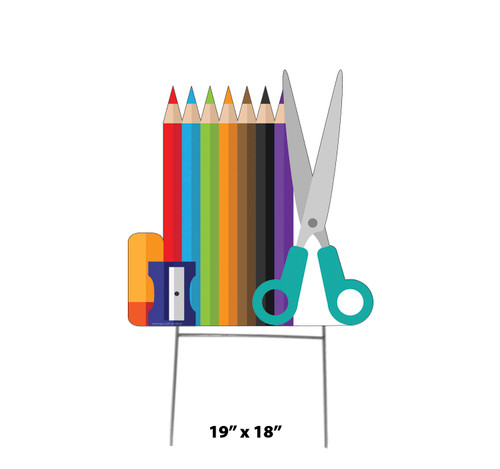 Coroplast outdoor School Supplies Yard Sign with dimensions.