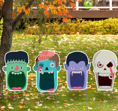 Coroplast outdoor Halloween Scary Faces 4 Pack Yard Signs.