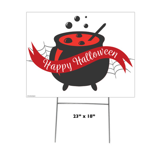 Coroplast outdoor Halloween Sign 06 with dimensions.