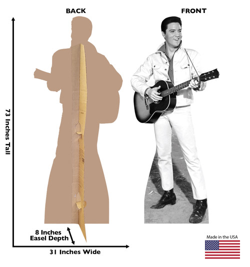 Elvis B&W White Jacket Cardboard Cutout 1350