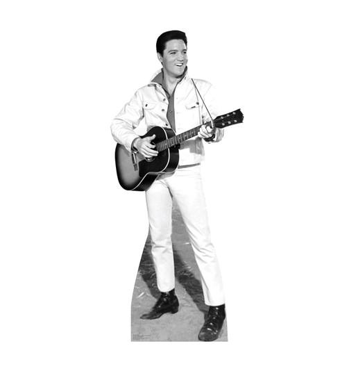 Elvis B&W White Jacket Cardboard Cutout 1350