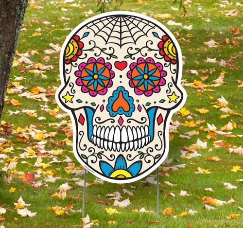 Coroplast outdoor Sugar Skull Yard Sign.