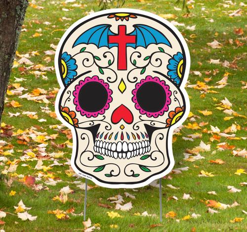 Coroplast outdoor Sugar Skull 2 Yard Sign.