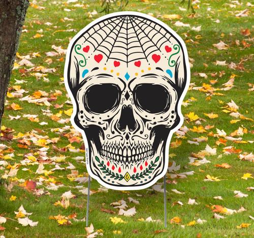 Coroplast outdoor Sugar Skull 3 Yard Sign.
