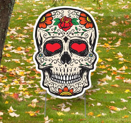 Coroplast outdoor Sugar Skull 4 Yard Sign.