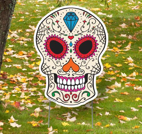 Coroplast outdoor Sugar Skull 5 Yard Sign.