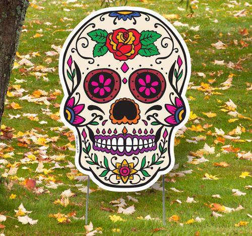 Coroplast outdoor Sugar Skull 6 Yard Sign.