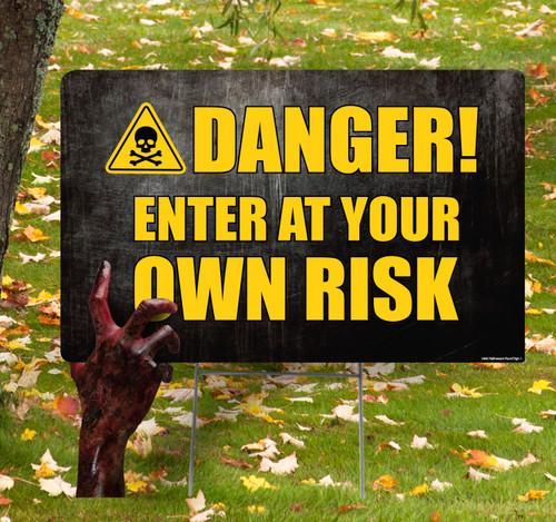 Coroplast outdoor Halloween Hand 1 Yard Sign.