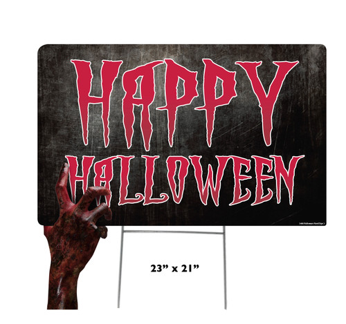 Coroplast outdoor Halloween Hand 3 Yard Sign with dimensions.