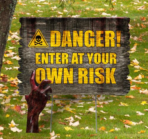 Coroplast outdoor Halloween Hand 5 Yard Sign.
