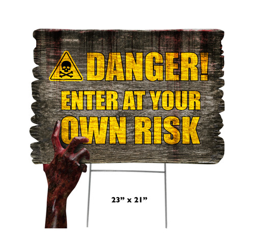 Coroplast outdoor Halloween Hand 5 Yard Sign with dimensions.