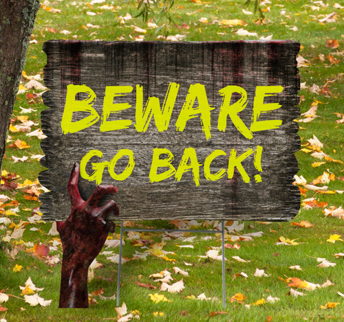 Coroplast outdoor Halloween Hand 6 Yard Sign with dimensions.