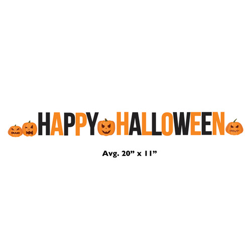 Coroplast outdoor Happy Halloween and Pumpkins Yard Letters with dimensions.