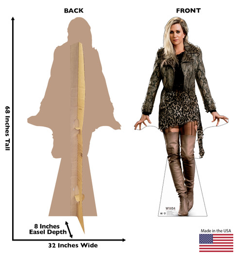 The Cheetah cardboard standee from the movie Wonder Woman 1984 with front and back dimensions.