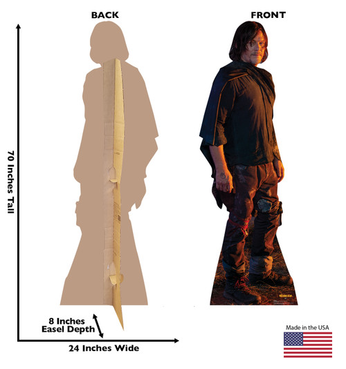 Life-size Daryl Dixon (The Walking Dead) Cardboard Standup | Cardboard Cutout Back and Front Dimensions