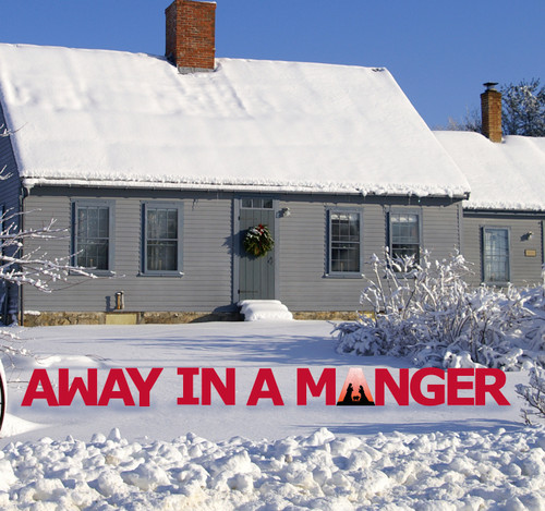 Coroplast outdoor Away in a Manger Yard Sign Set.
