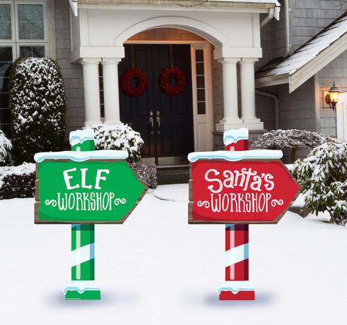Coroplast outdoor Elf and Santa Workshop Yard Signs Set of 2.