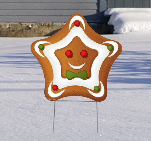 Coroplast outdoor Ginger Bread Star Yard Sign.