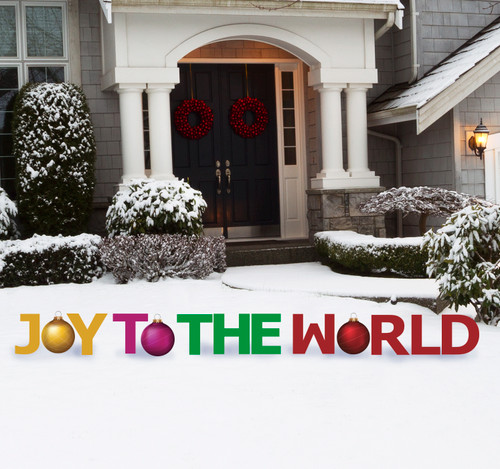 Coroplast outdoor Joy to the World Yard Sign Set.