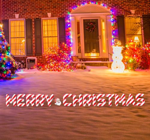 Coroplast outdoor Merry Christmas Yard Sign Set Stripes with Santa Head.