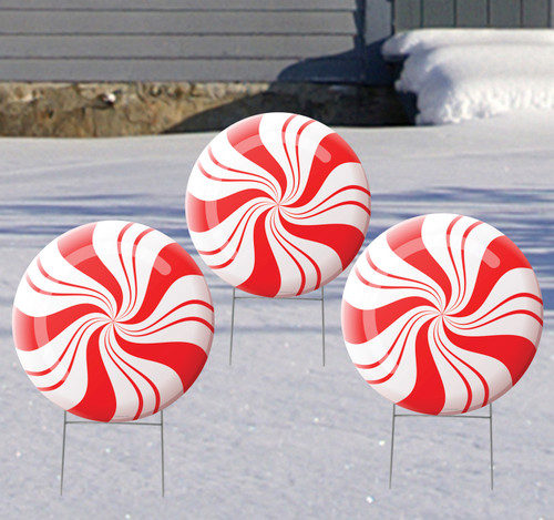 Coroplast outdoor Peppermint Yard Sign Set of 3.