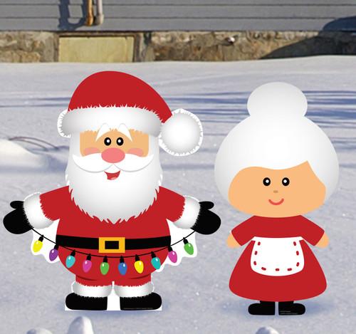 Coroplast outdoor Santa & Mrs. Claus Yard Sign Set of 2.