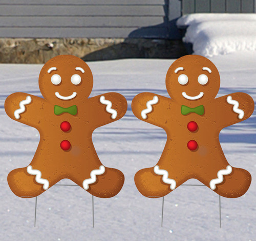Coroplast outdoor Ginger Bread Men Yard Sign Set of 2.