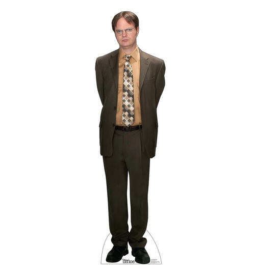 Life-size cardboard standee of Dwight Schrute from the Office TV show.
