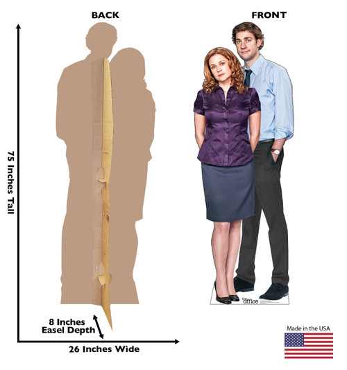 Life-size cardboard standee of Jim Halpert & Pam Beesly from the Office TV show with front and back dimension.
