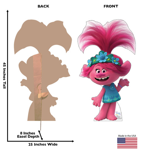 Life-size cardboard standee of Poppy from Trolls World Tour with back and front dimensions.