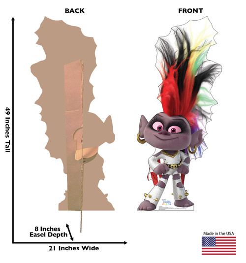 Life-size cardboard standee of Barb from Trolls World Tour with back and front dimensions.