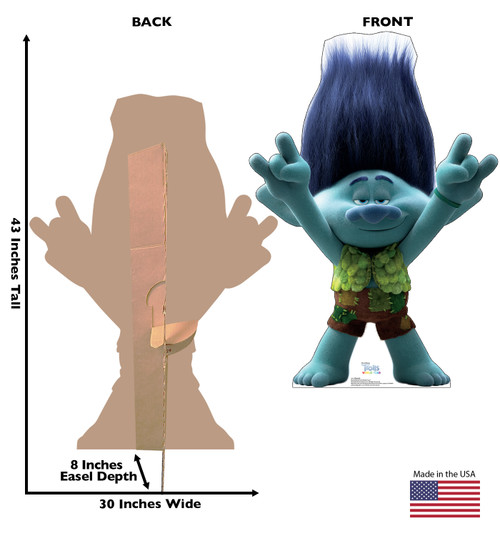 Life-size cardboard standee of Branch from Trolls World Tour with back and front dimensions.