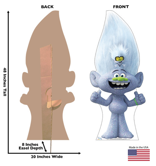 Life-size cardboard standee of Tiny and Guy Diamond from Trolls World Tour with back and front dimensions.