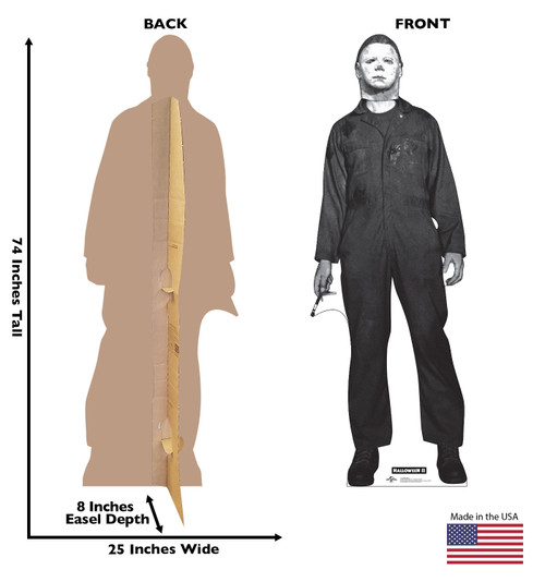 Life-size cardboard standee of Mike Myers from Halloween II movie with front and back dimensions.
