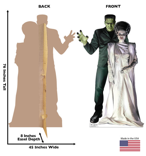 Life-size cardboard standee of Frankenstein & His Bride from Universals Monsters Collection with front and back dimensions.