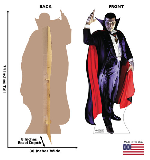 Life-size cardboard standee of Dracula from Universals Monsters Collection with front and back dimensions.