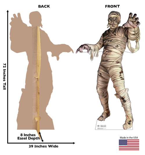 Life-size cardboard standee of Mummy from Universals Monsters Collection with front and back dimensions.