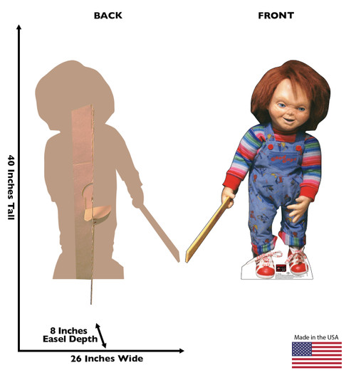 Life-size cardboard standee of Chucky with back and front dimensions.