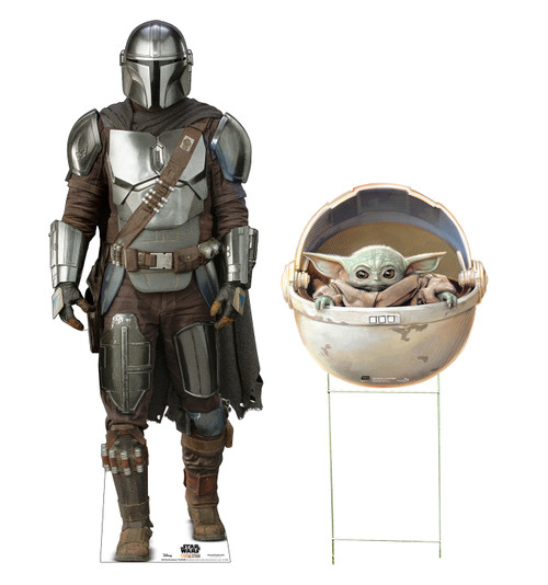 Life-size cardboard standee of The Mandalorian & The Child in Pod Outdoor 2 piece package.