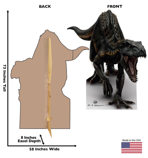 Life-size cardboard standee of Indoraptor from The Lost World with back and front dimensions.