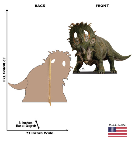 Life-size cardboard standee of Sinoceratops from The Lost World with back and front dimensions.